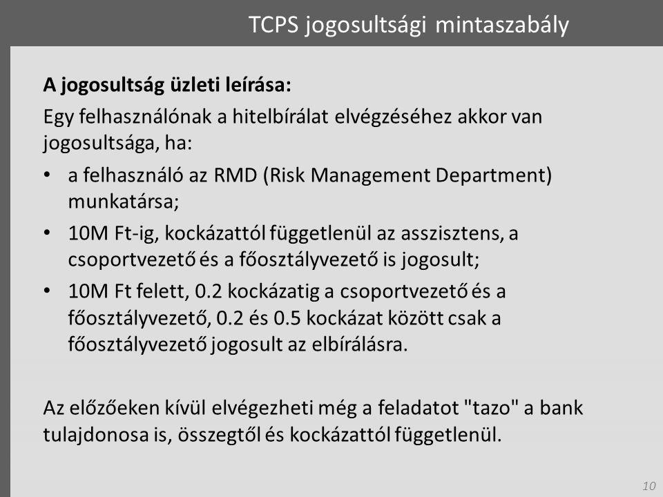 10 TCPS jogosultsági mintaszabály A jogosultság üzleti leírása: Egy felhasználónak a hitelbírálat elvégzéséhez akkor van jogosultsága, ha: a felhasználó az RMD (Risk Management Department) munkatársa; 10M Ft-ig, kockázattól függetlenül az asszisztens, a csoportvezető és a főosztályvezető is jogosult; 10M Ft felett, 0.2 kockázatig a csoportvezető és a főosztályvezető, 0.2 és 0.5 kockázat között csak a főosztályvezető jogosult az elbírálásra.