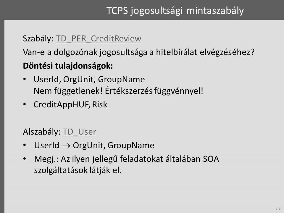 11 TCPS jogosultsági mintaszabály Szabály: TD_PER_CreditReviewTD_PER_CreditReview Van-e a dolgozónak jogosultsága a hitelbírálat elvégzéséhez.