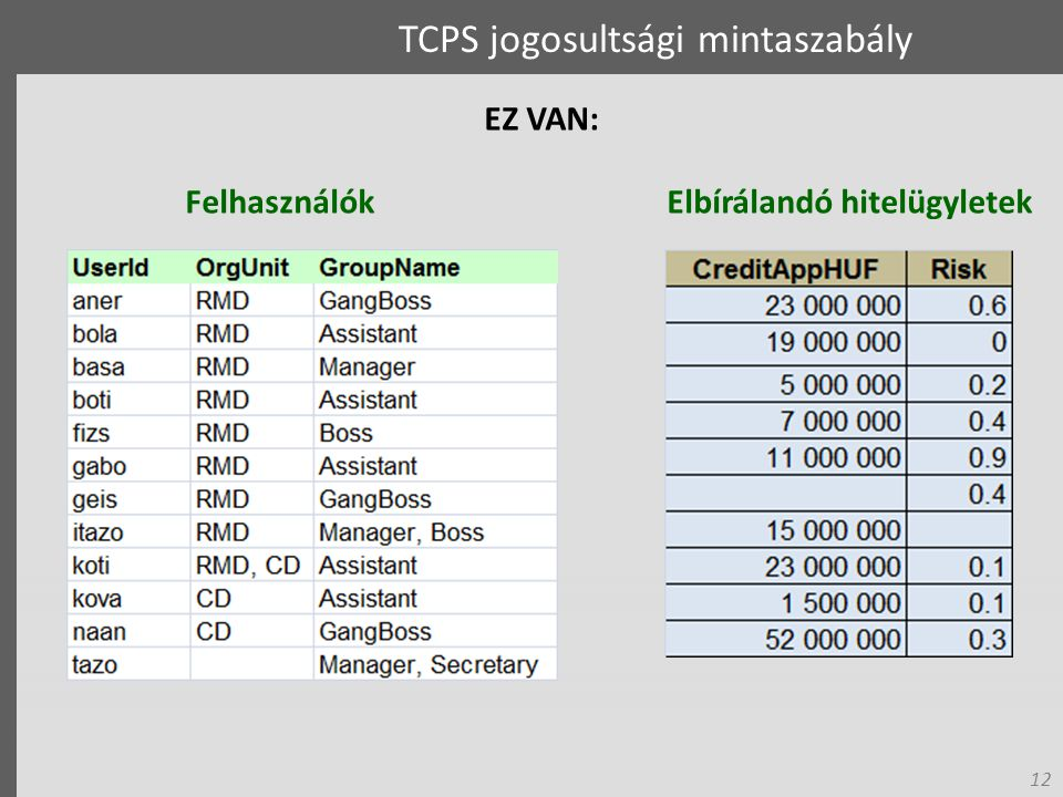 12 Elbírálandó hitelügyletek TCPS jogosultsági mintaszabály EZ VAN: Felhasználók