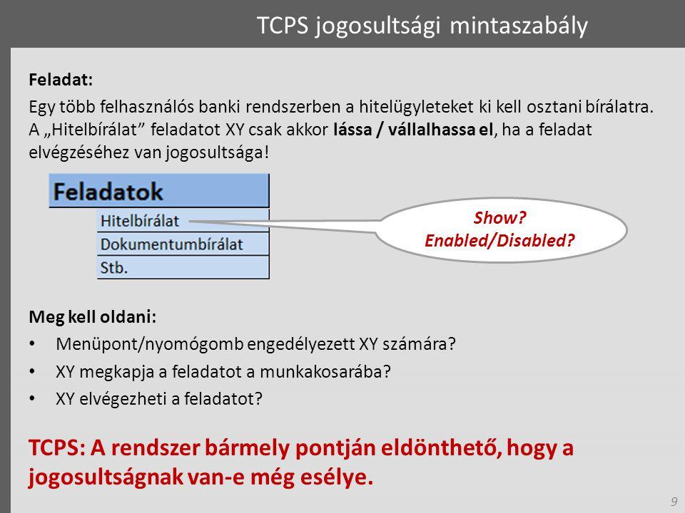 9 TCPS jogosultsági mintaszabály Feladat: Egy több felhasználós banki rendszerben a hitelügyleteket ki kell osztani bírálatra.