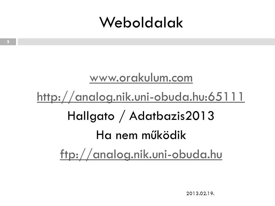 Weboldalak www.orakulum.com http://analog.nik.uni-obuda.hu:65111 Hallgato / Adatbazis2013 Ha nem működik ftp://analog.nik.uni-obuda.hu 2013.02.19. 3