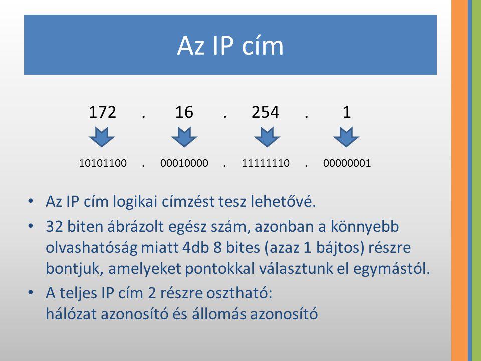 Az IP cím Az IP cím logikai címzést tesz lehetővé. 32 biten ábrázolt egész szám, azonban a könnyebb olvashatóság miatt 4db 8 bites (azaz 1 bájtos) rés
