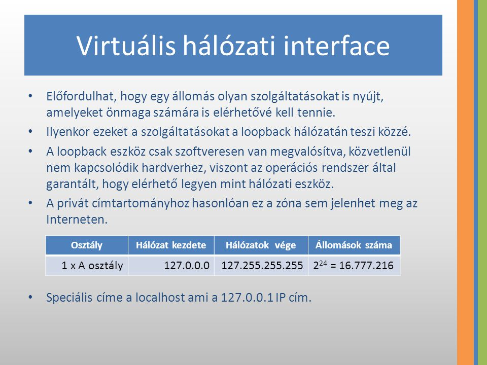 Virtuális hálózati interface Előfordulhat, hogy egy állomás olyan szolgáltatásokat is nyújt, amelyeket önmaga számára is elérhetővé kell tennie. Ilyen