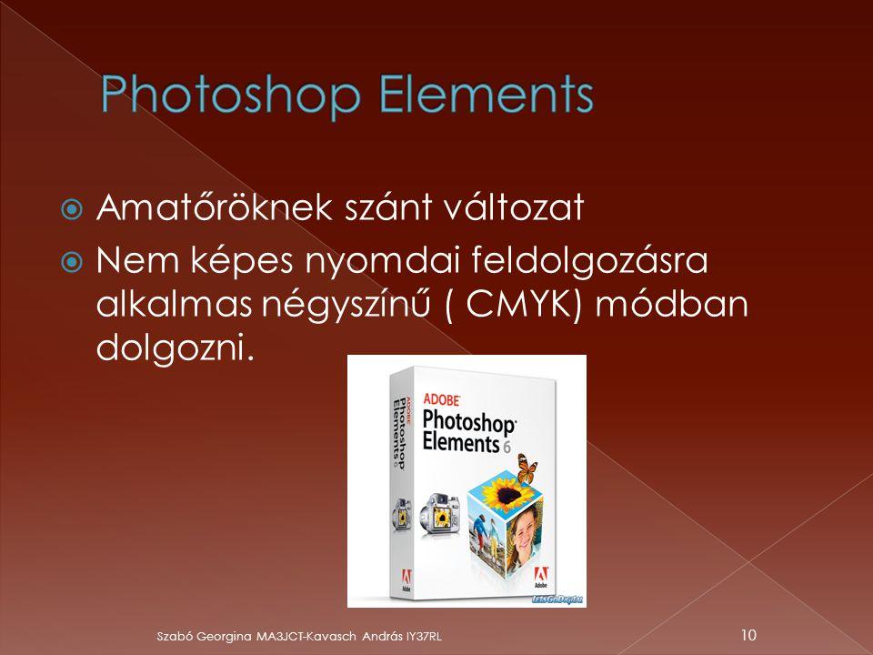  Amatőröknek szánt változat  Nem képes nyomdai feldolgozásra alkalmas négyszínű ( CMYK) módban dolgozni. Szabó Georgina MA3JCT-Kavasch András IY37RL