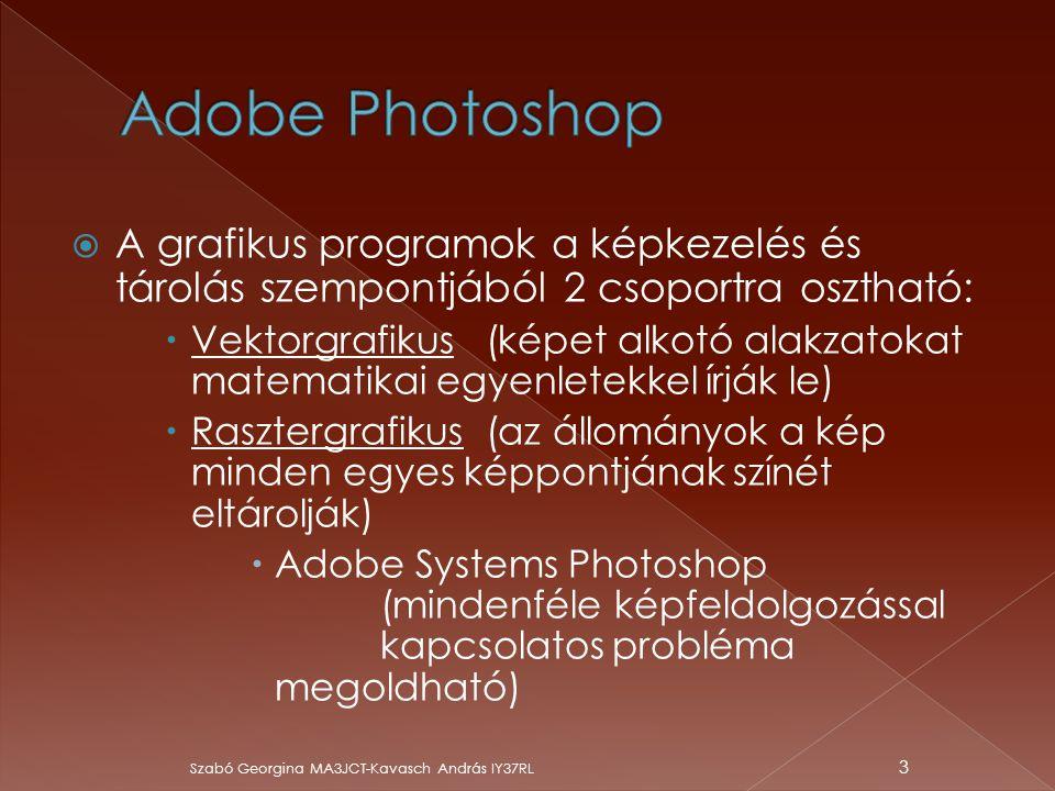 Alapötlet két testvér, John és Thomas Knoll nevéhez fűződik  Display  1988 ImagePro  Barneyscan XP  1990 Photoshop 1.0 (kizárólag Macintosh platformra)  Photoshop 2.0 Szabó Georgina MA3JCT-Kavasch András IY37RL 4