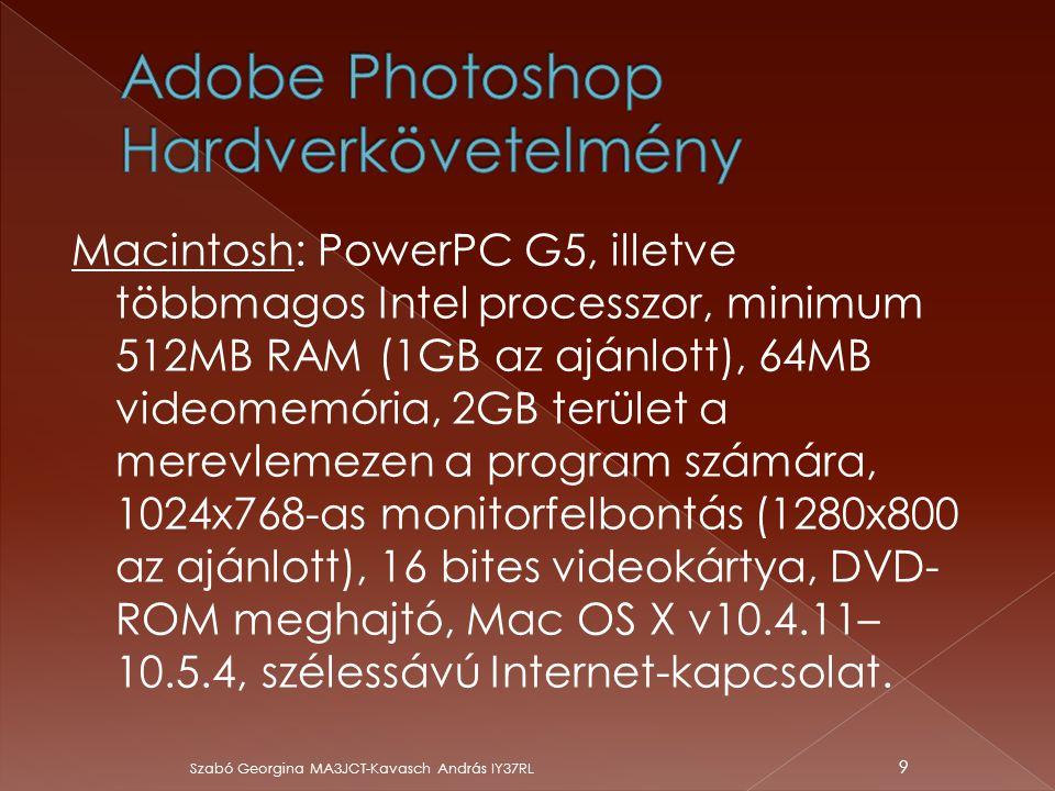 Macintosh: PowerPC G5, illetve többmagos Intel processzor, minimum 512MB RAM (1GB az ajánlott), 64MB videomemória, 2GB terület a merevlemezen a progra