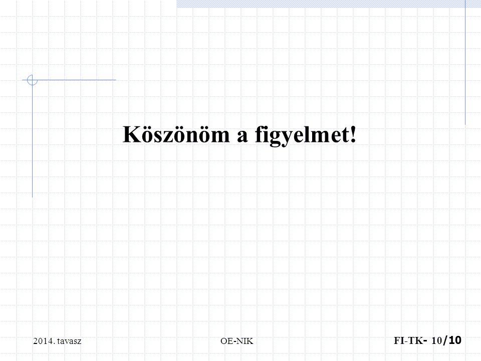 2014. tavasz FI-TK - 10 /10 OE-NIK Köszönöm a figyelmet!