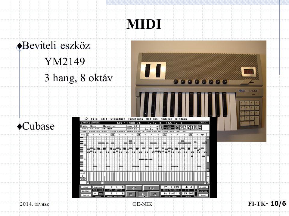 2014. tavaszOE-NIK MIDI  Beviteli eszköz YM2149 3 hang, 8 oktáv  Cubase FI-TK - 10/6