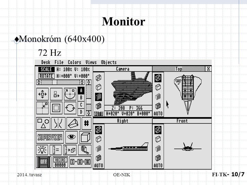 2014. tavasz FI-TK - 9 /8 OE-NIK Monitor  RGB 320x200 16 szín 640x200 4 szín