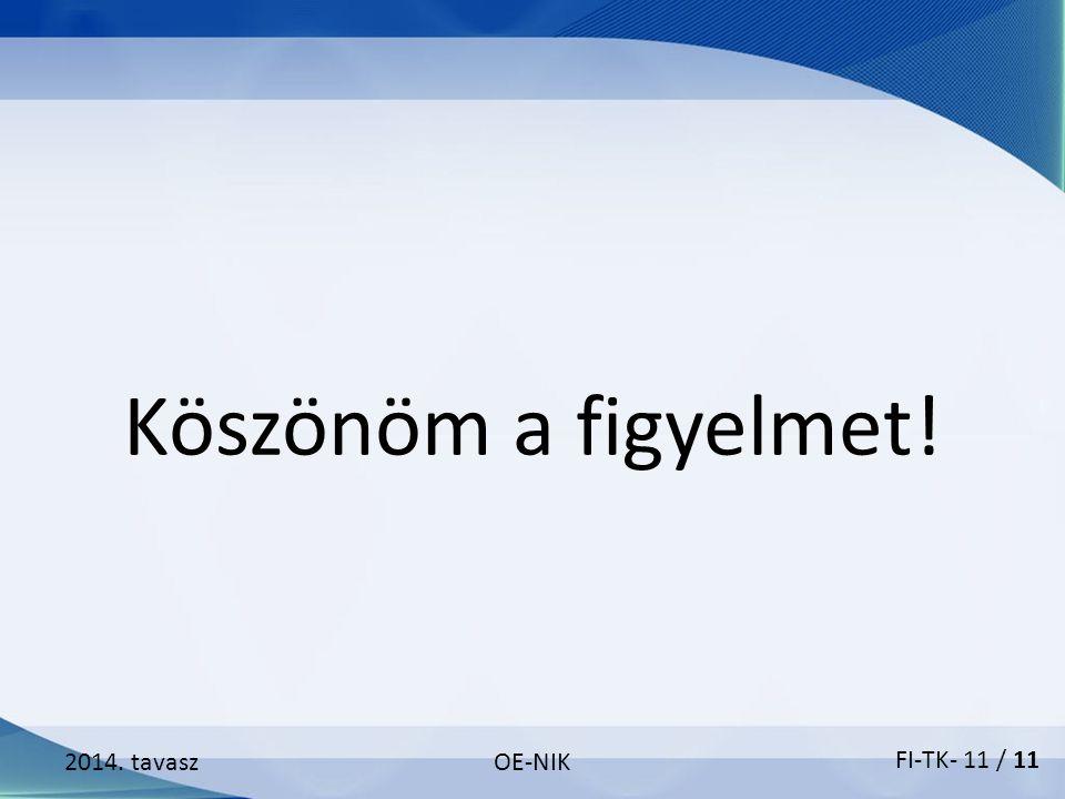2014. tavaszOE-NIK Köszönöm a figyelmet! FI-TK- 11 / 11