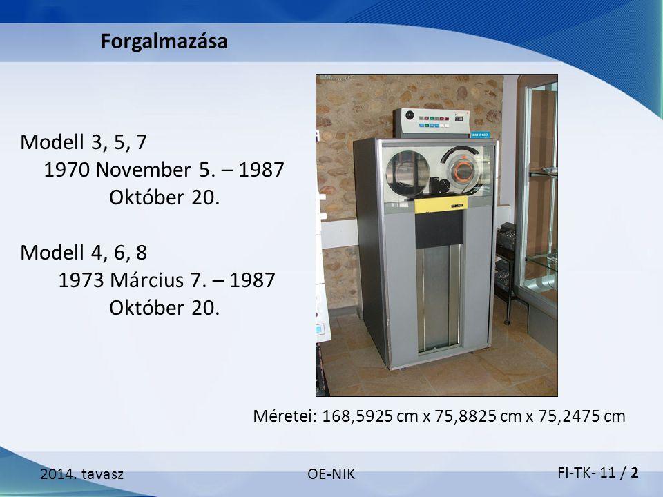Modell 3, 5, 7 1970 November 5. – 1987 Október 20. Modell 4, 6, 8 1973 Március 7. – 1987 Október 20. 2014. tavaszOE-NIK Forgalmazása Méretei: 168,5925