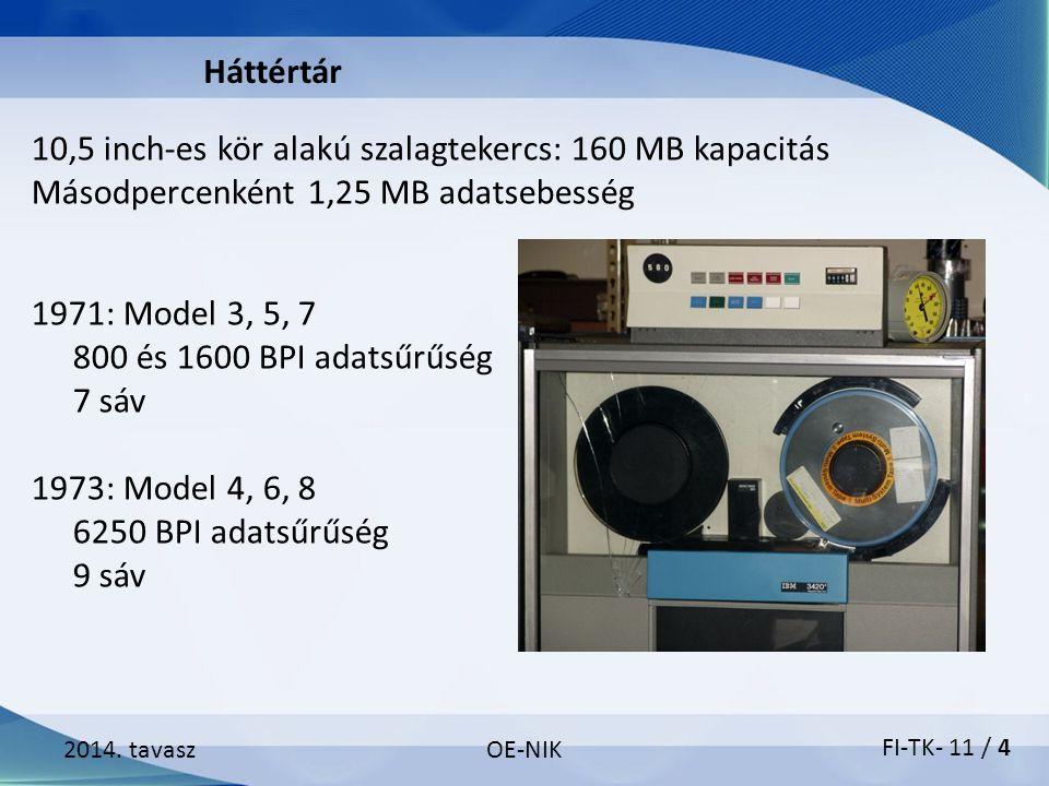 2014. tavaszOE-NIK 10,5 inch-es kör alakú szalagtekercs: 160 MB kapacitás Másodpercenként 1,25 MB adatsebesség Háttértár 1971: Model 3, 5, 7 800 és 16