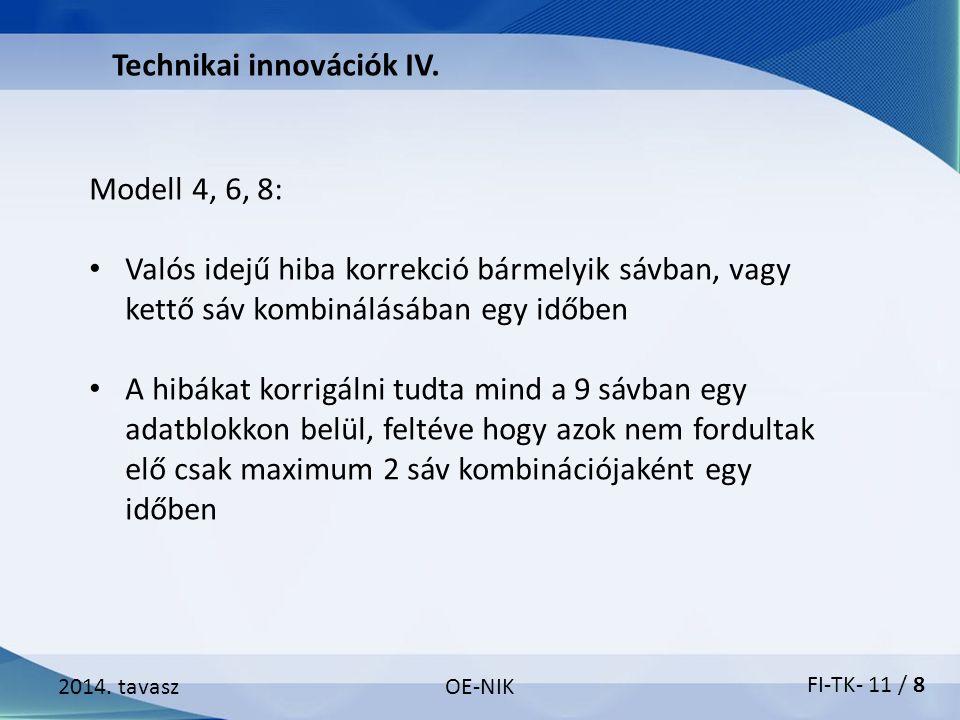 2014. tavaszOE-NIK Technikai innovációk IV. Modell 4, 6, 8: Valós idejű hiba korrekció bármelyik sávban, vagy kettő sáv kombinálásában egy időben A hi