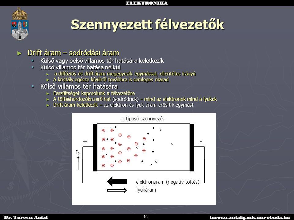 ELEKTRONIKA Dr. Turóczi Antalturoczi.antal@nik.uni-obuda.hu Szennyezett félvezetők ► Drift áram – sodródási áram  Külső vagy belső villamos tér hatás
