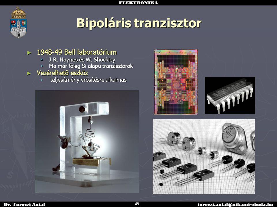 ELEKTRONIKA Dr. Turóczi Antalturoczi.antal@nik.uni-obuda.hu Bipoláris tranzisztor ► 1948-49 Bell laboratórium  J.R. Haynes és W. Shockley  Ma már fő