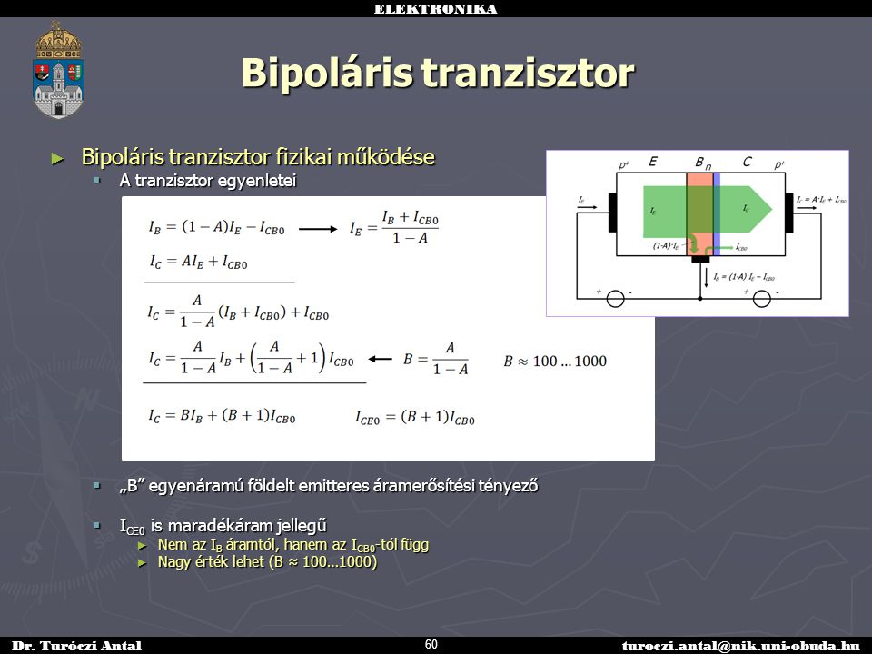 ELEKTRONIKA Dr. Turóczi Antalturoczi.antal@nik.uni-obuda.hu Bipoláris tranzisztor ► Bipoláris tranzisztor fizikai működése  A tranzisztor egyenletei