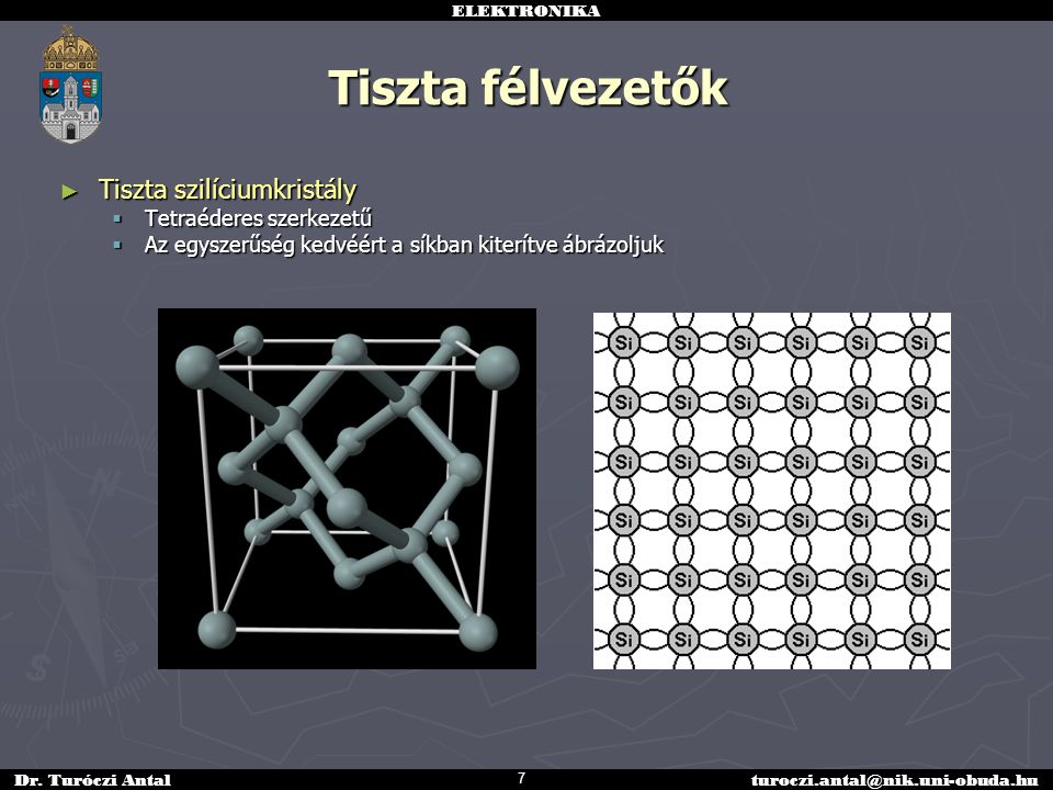 ELEKTRONIKA Dr. Turóczi Antalturoczi.antal@nik.uni-obuda.hu Tiszta félvezetők ► Tiszta szilíciumkristály  Tetraéderes szerkezetű  Az egyszerűség ked