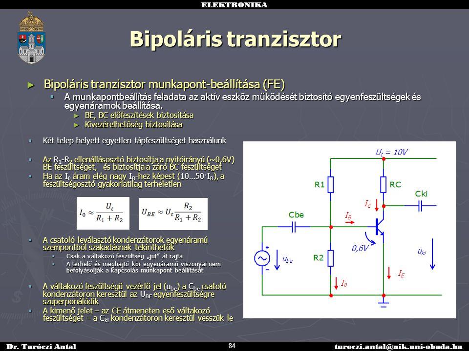 ELEKTRONIKA Dr. Turóczi Antalturoczi.antal@nik.uni-obuda.hu Bipoláris tranzisztor ► Bipoláris tranzisztor munkapont-beállítása (FE)  A munkapontbeáll
