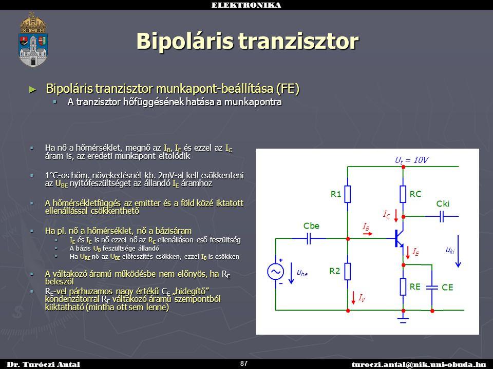 ELEKTRONIKA Dr. Turóczi Antalturoczi.antal@nik.uni-obuda.hu Bipoláris tranzisztor ► Bipoláris tranzisztor munkapont-beállítása (FE)  A tranzisztor hő