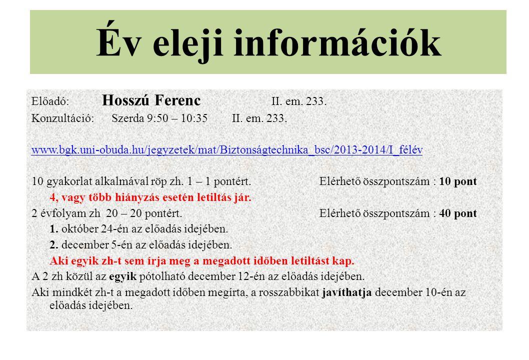 Év eleji információk Előadó: Hosszú Ferenc II. em. 233. Konzultáció: Szerda 9:50 – 10:35 II. em. 233. www.bgk.uni-obuda.hu/jegyzetek/mat/Biztonságtech