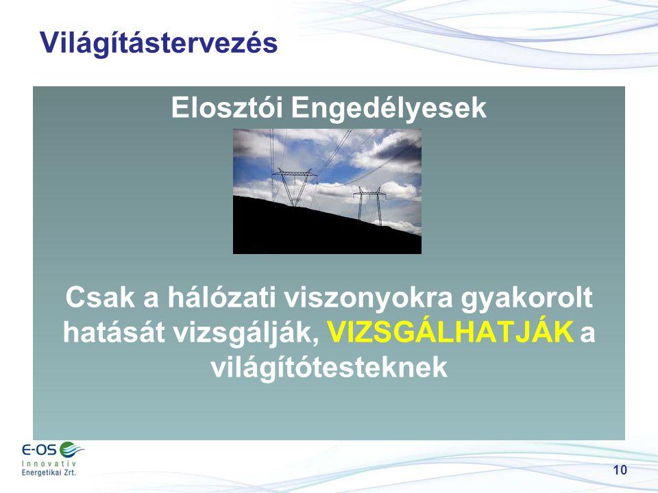 Világítástervezés Elosztói Engedélyesek Csak a hálózati viszonyokra gyakorolt hatását vizsgálják, VIZSGÁLHATJÁK a világítótesteknek 10