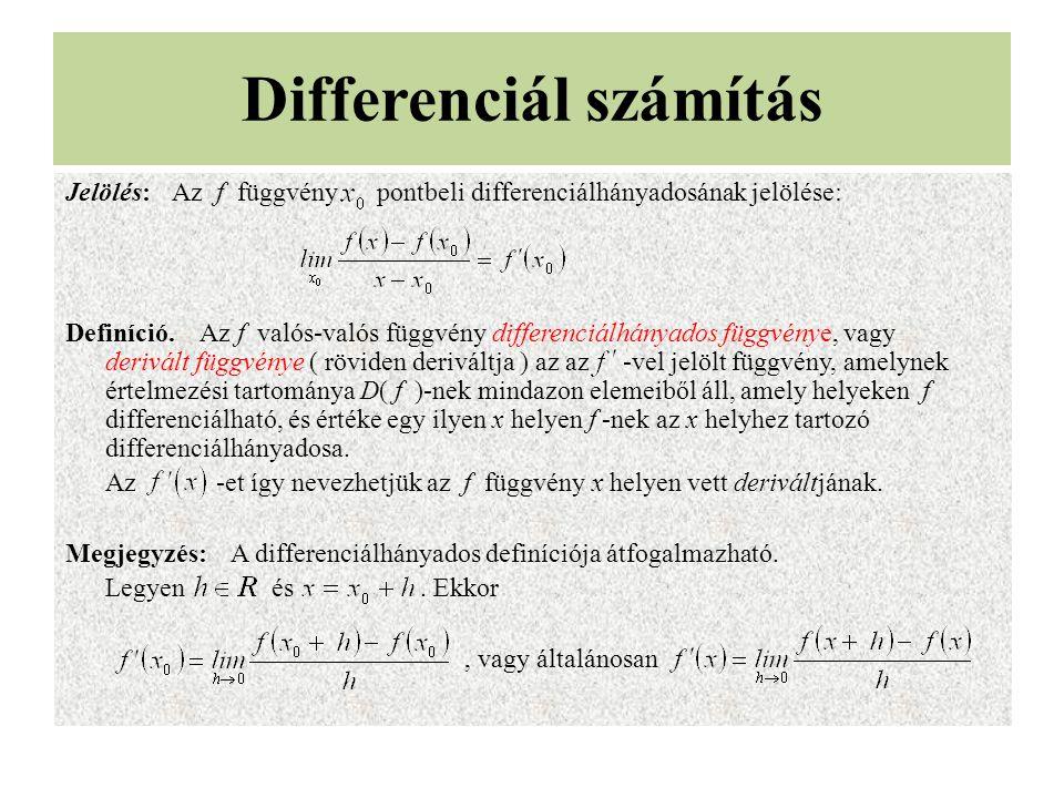 Differenciál számítás Jelölés:Az f függvény pontbeli differenciálhányadosának jelölése: Definíció. Az f valós-valós függvény differenciálhányados függ