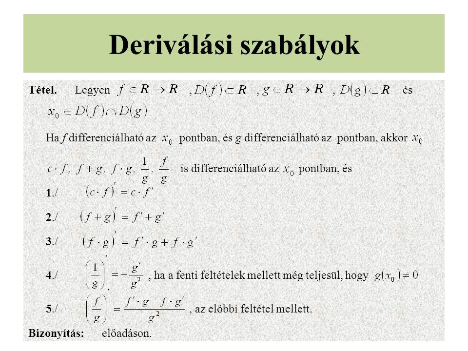 Deriválási szabályok Tétel.Legyen,,, és Ha f differenciálható az pontban, és g differenciálható az pontban, akkor is differenciálható az pontban, és 1