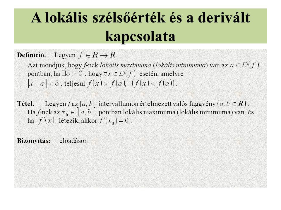A lokális szélsőérték és a derivált kapcsolata Definíció. Legyen. Azt mondjuk, hogy f-nek lokális maximuma (lokális minimuma) van az pontban, ha, hogy
