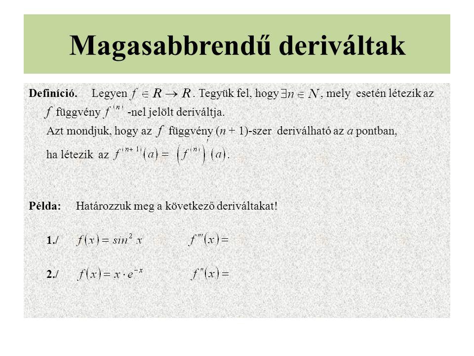 Magasabbrendű deriváltak Definíció. Legyen. Tegyük fel, hogy, mely esetén létezik az f függvény -nel jelölt deriváltja. Azt mondjuk, hogy az f függvén