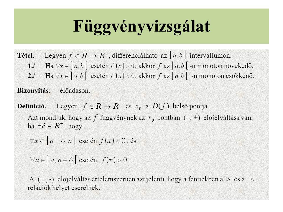 Függvényvizsgálat Tétel. Legyen, differenciálható az intervallumon. 1./Ha esetén, akkor f az -n monoton növekedő, 2./Ha esetén, akkor f az -n monoton
