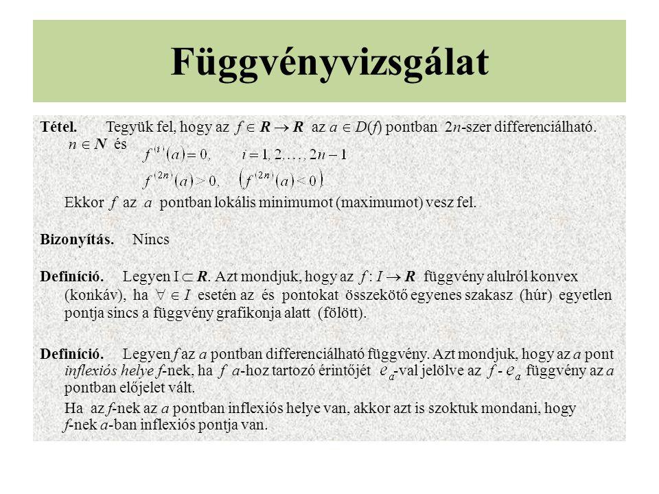 Függvényvizsgálat Tétel.Tegyük fel, hogy az f  R  R az a  D(f) pontban 2n-szer differenciálható. n  N és Ekkor f az a pontban lokális minimumot (m