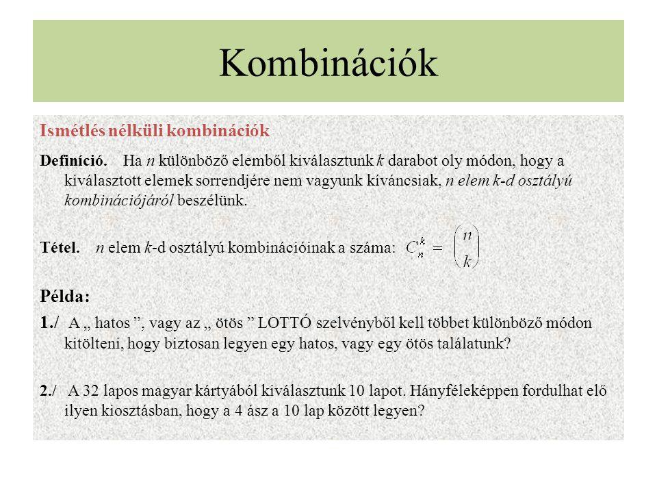 Kombinációk Ismétlés nélküli kombinációk Definíció. Ha n különböző elemből kiválasztunk k darabot oly módon, hogy a kiválasztott elemek sorrendjére ne