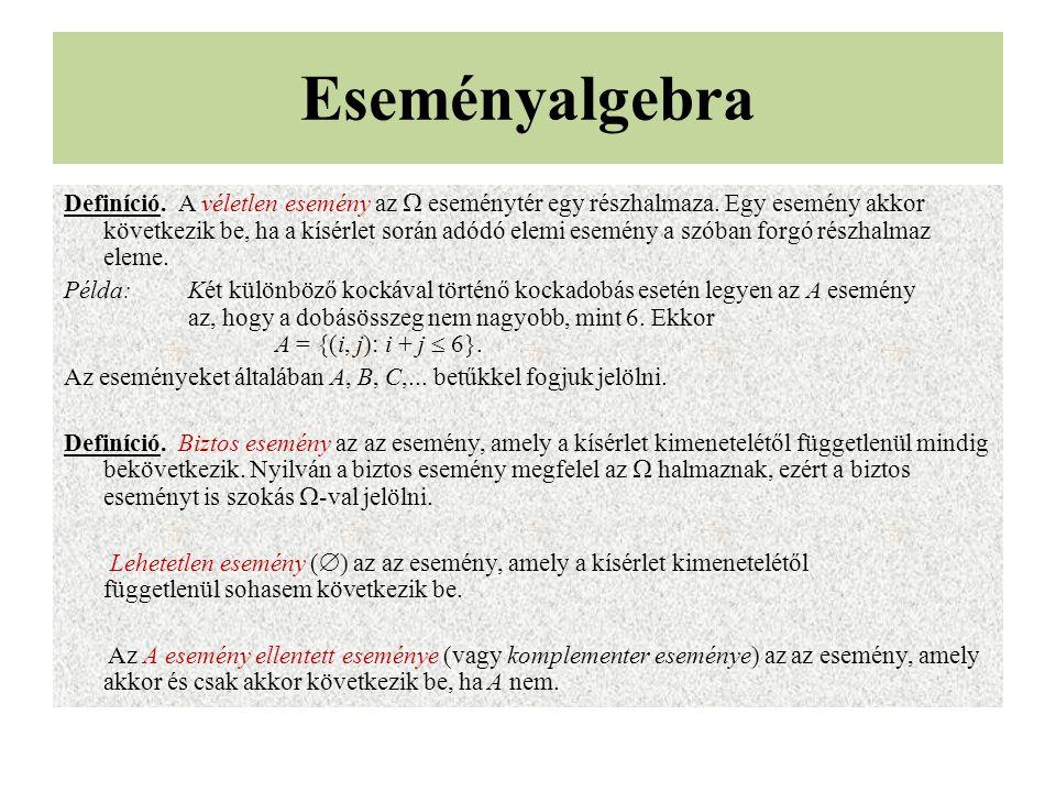 Eseményalgebra Definíció. A véletlen esemény az  eseménytér egy részhalmaza. Egy esemény akkor következik be, ha a kísérlet során adódó elemi esemény
