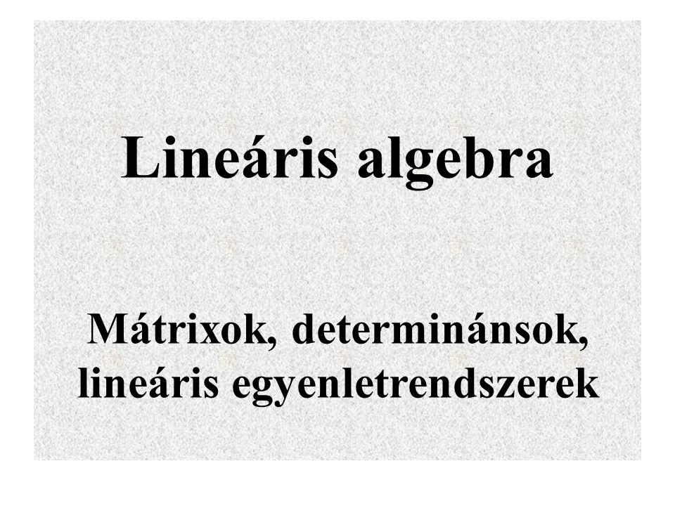 Determinánsok tulajdonságai Tétel.Egy alsó, vagy ( felső ) háromszög determináns értéke a főátlóban álló elemek szorzata.