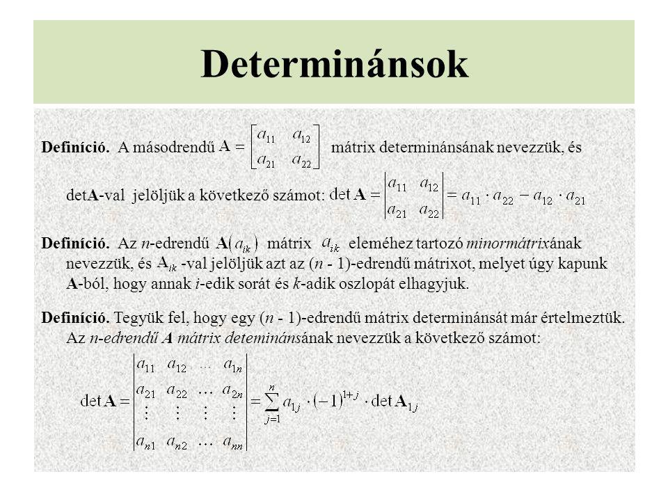 Determinánsok Definíció. A másodrendű mátrix determinánsának nevezzük, és detA-val jelöljük a következő számot: Definíció. Az n-edrendű mátrix eleméhe