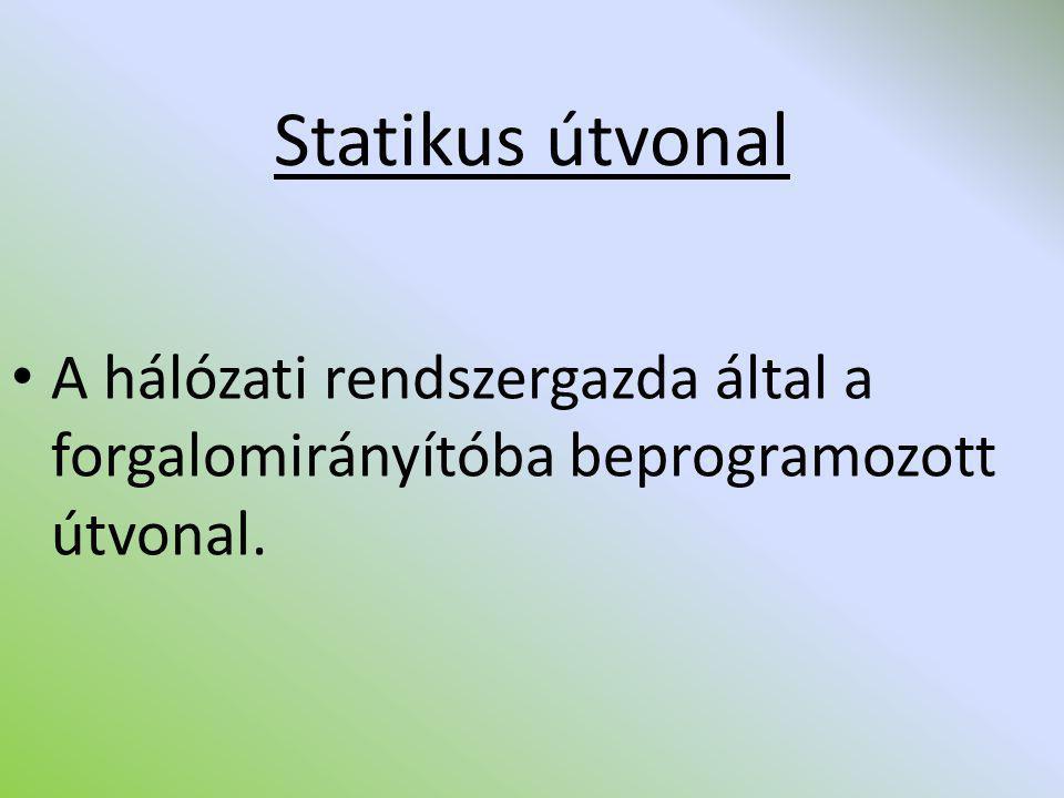 Statikus útvonal A hálózati rendszergazda által a forgalomirányítóba beprogramozott útvonal.