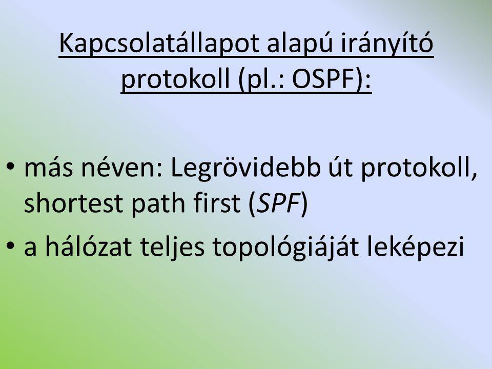 Kapcsolatállapot alapú irányító protokoll (pl.: OSPF): más néven: Legrövidebb út protokoll, shortest path first (SPF) a hálózat teljes topológiáját le