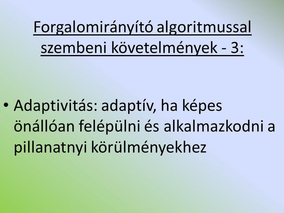 Forgalomirányító algoritmussal szembeni követelmények - 3: Adaptivitás: adaptív, ha képes önállóan felépülni és alkalmazkodni a pillanatnyi körülménye