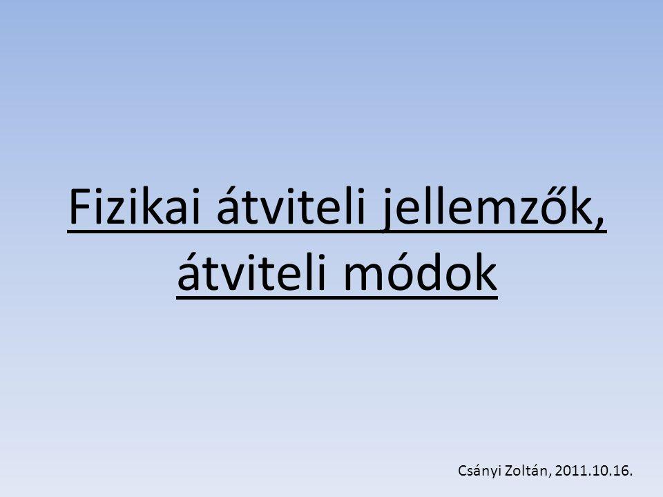 Fizikai átviteli jellemzők, átviteli módok Csányi Zoltán, 2011.10.16.
