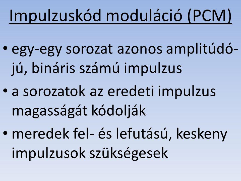 Impulzuskód moduláció (PCM) egy-egy sorozat azonos amplitúdó- jú, bináris számú impulzus a sorozatok az eredeti impulzus magasságát kódolják meredek f