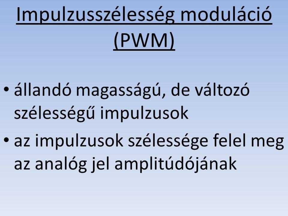 Impulzusszélesség moduláció (PWM) állandó magasságú, de változó szélességű impulzusok az impulzusok szélessége felel meg az analóg jel amplitúdójának