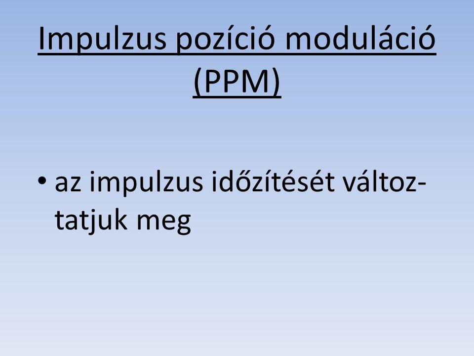 Impulzus pozíció moduláció (PPM) az impulzus időzítését változ- tatjuk meg