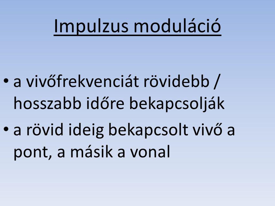 Impulzus moduláció a vivőfrekvenciát rövidebb / hosszabb időre bekapcsolják a rövid ideig bekapcsolt vivő a pont, a másik a vonal