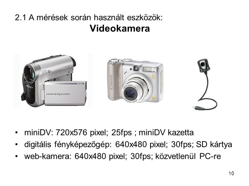 2.1 A mérések során használt eszközök: Videokamera miniDV: 720x576 pixel; 25fps ; miniDV kazetta digitális fényképezőgép: 640x480 pixel; 30fps; SD kár