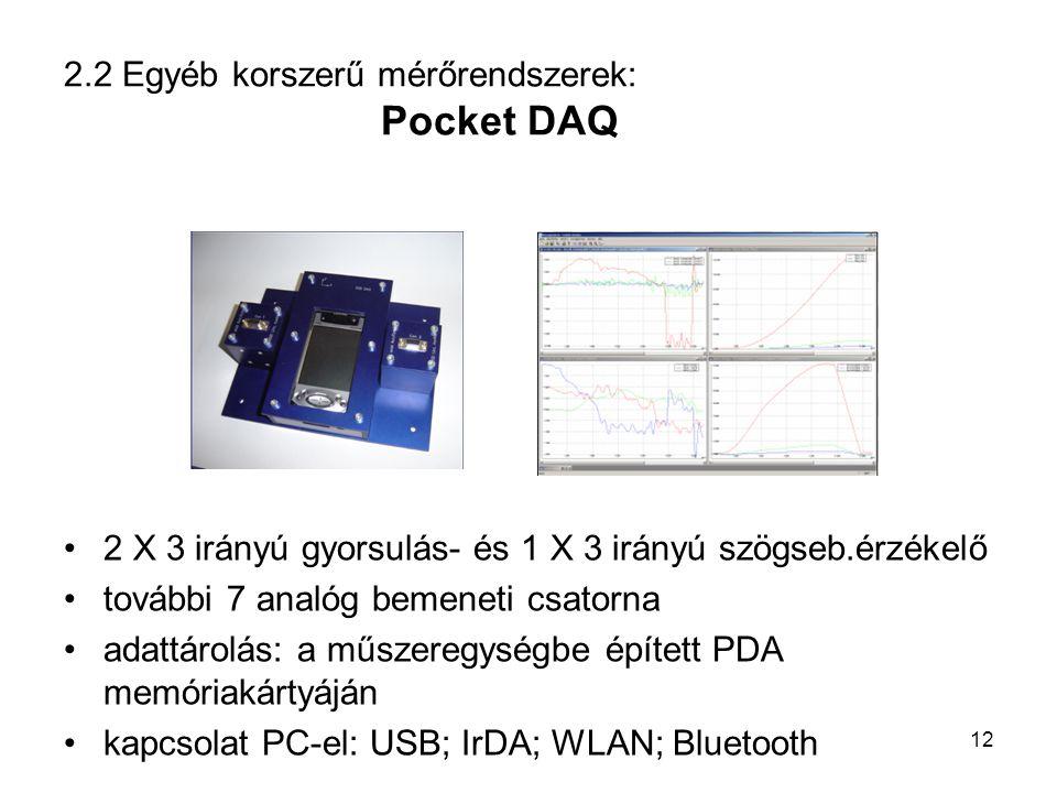 2.2 Egyéb korszerű mérőrendszerek: Pocket DAQ 2 X 3 irányú gyorsulás- és 1 X 3 irányú szögseb.érzékelő további 7 analóg bemeneti csatorna adattárolás: