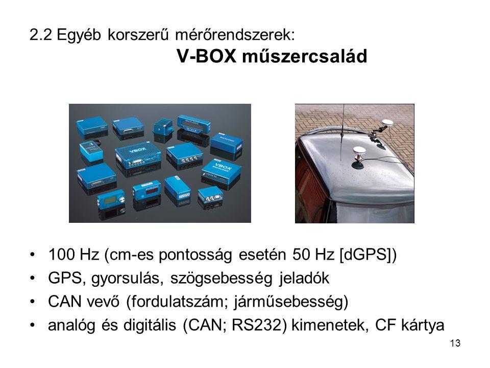 2.2 Egyéb korszerű mérőrendszerek: V-BOX műszercsalád 100 Hz (cm-es pontosság esetén 50 Hz [dGPS]) GPS, gyorsulás, szögsebesség jeladók CAN vevő (ford
