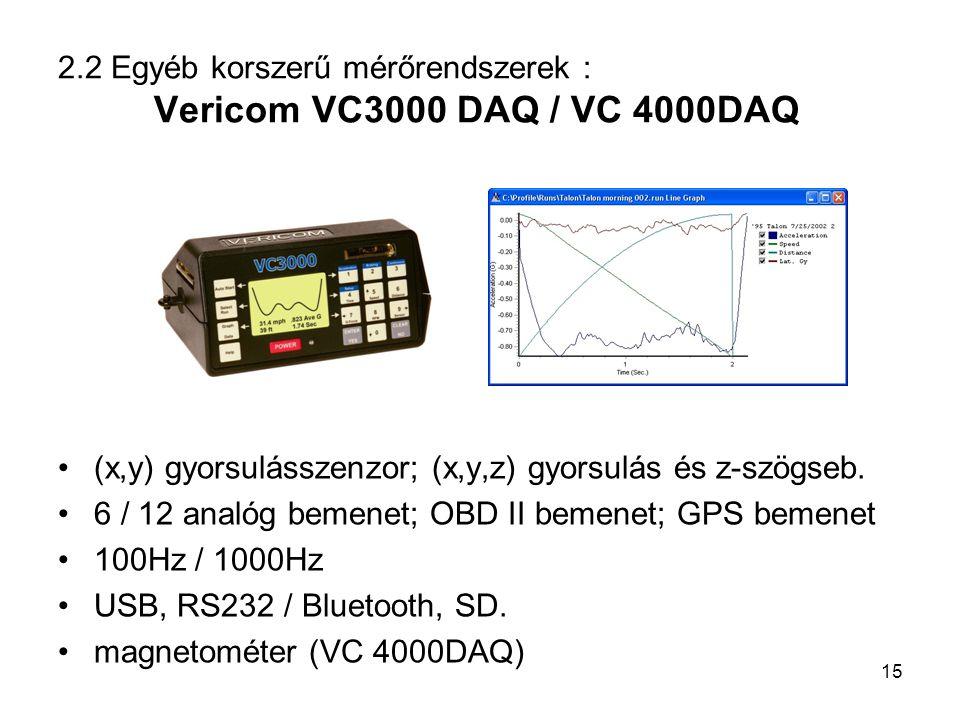 2.2 Egyéb korszerű mérőrendszerek : Vericom VC3000 DAQ / VC 4000DAQ (x,y) gyorsulásszenzor; (x,y,z) gyorsulás és z-szögseb. 6 / 12 analóg bemenet; OBD
