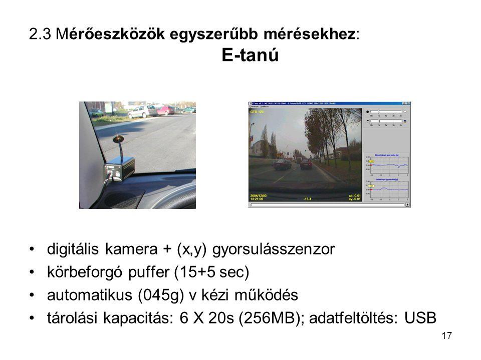 2.3 Mérőeszközök egyszerűbb mérésekhez: E-tanú digitális kamera + (x,y) gyorsulásszenzor körbeforgó puffer (15+5 sec) automatikus (045g) v kézi működé