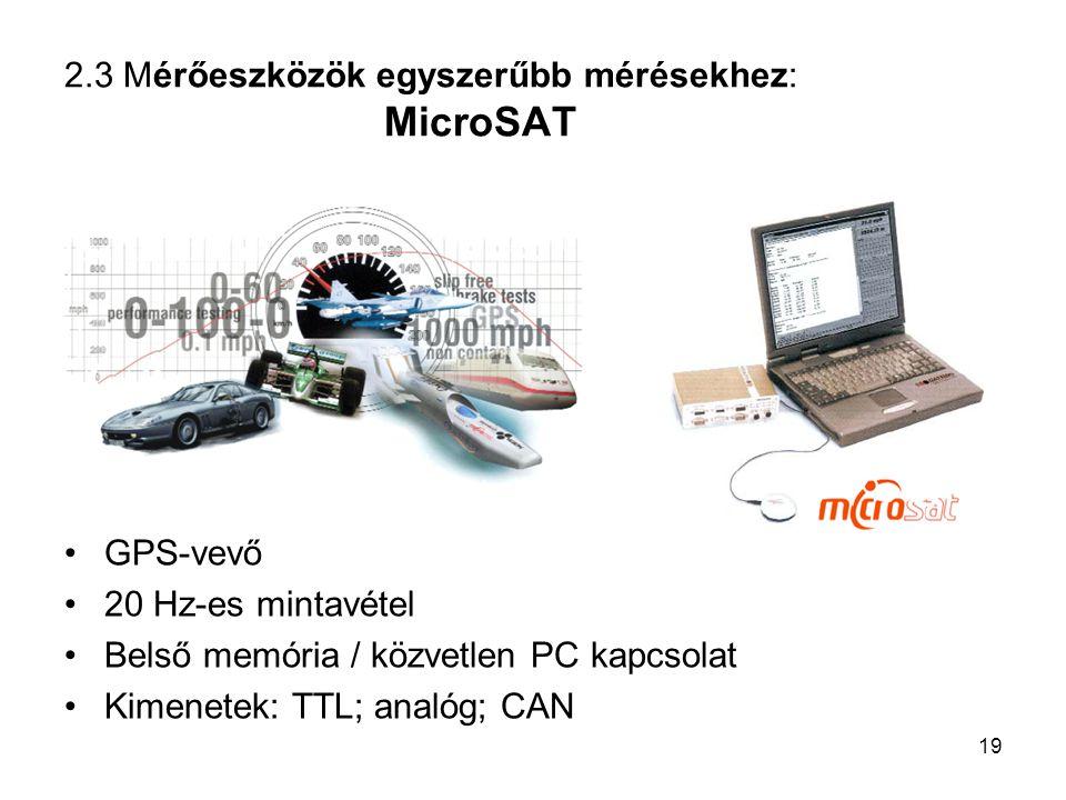 2.3 Mérőeszközök egyszerűbb mérésekhez: MicroSAT GPS-vevő 20 Hz-es mintavétel Belső memória / közvetlen PC kapcsolat Kimenetek: TTL; analóg; CAN 19