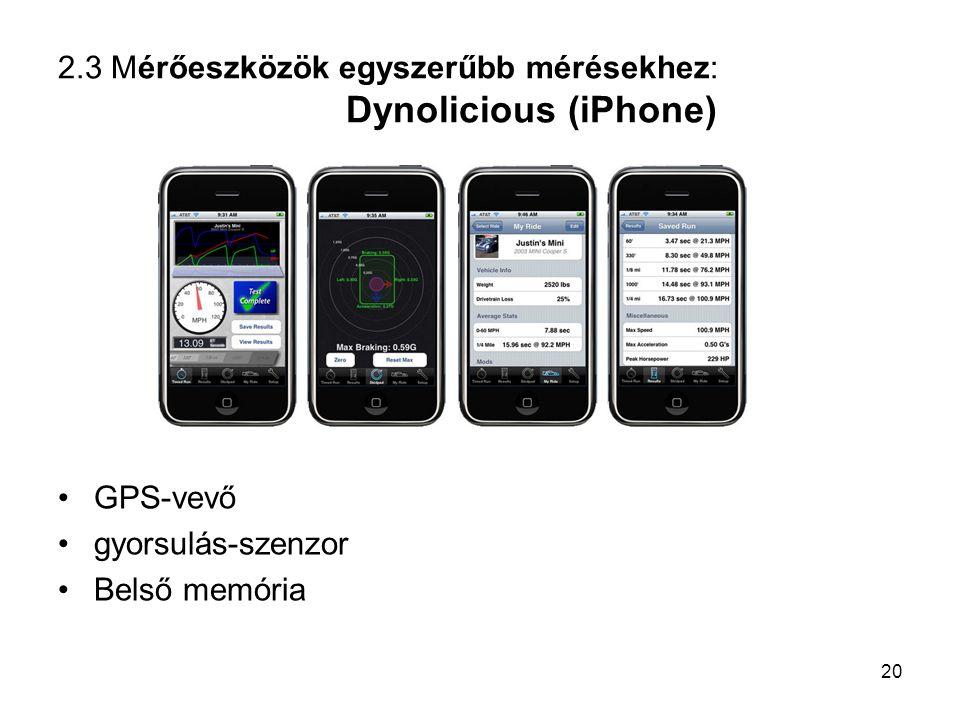 2.3 Mérőeszközök egyszerűbb mérésekhez: Dynolicious (iPhone) GPS-vevő gyorsulás-szenzor Belső memória 20